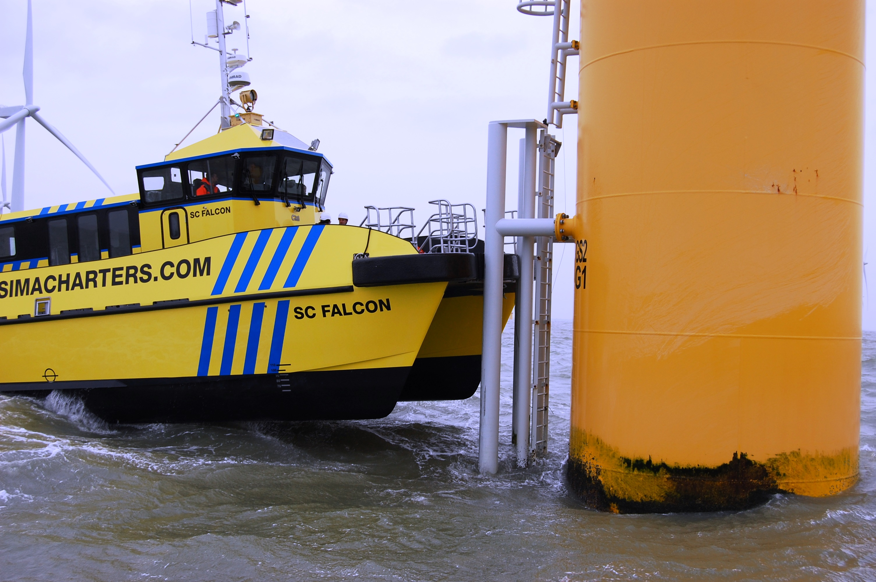 Sea trials for the striking blue and yellow-liveried cat, the first ...