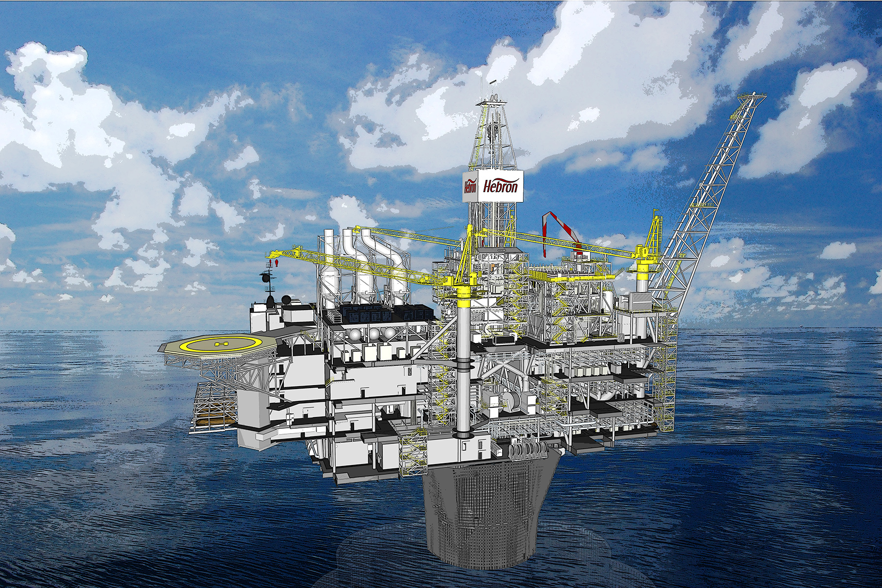 hebron project Exxonmobil has started production from the hebron project offshore canada at its peak, the project will produce up to 150,000 barrels of oil per day discovered in 1980, the hebron field is estimated to contain more than 700 million barrels of recoverable resources.