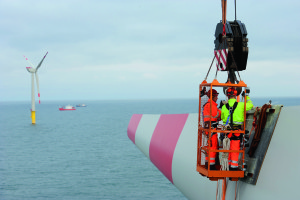 CONSTRUCTION SITE OF THE WINDFARM ALPHA VENTUS. INSTALLATION OF THE WINDMILLS. AREVA Wind. 2009, AUGUST