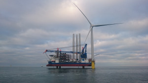 First turbine at Dungeon OWF - photo courtesy of Statoil, Byron Price, Rix Leopard.