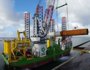 First Monopile Loaded at Sif Terminal