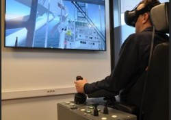 The VR showroom has an authentic operating chair for offshore crane simulations