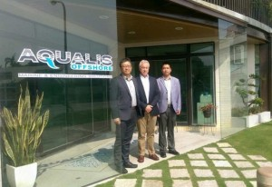 Aqualis Taiwan office. Left to right: Tim Ho, Head of Taiwan office; Phil Lenox, Director – Asia Pacific; and Peng Yongfei, Country Manager China