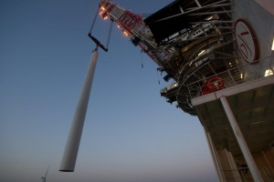 Installation of wind turbine at Nobelwind Offshore Windfarm