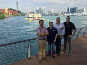 SIT 250 tidal platform located in front of Sentosa Boardwalk, Singapore. From left to right: Mr Lochinvar Abundo, Managing Director OceanPixel, Mr Cheng, Chairman and Founder of Environtek, Mr Hayman, Managing Director Sustainable Marine Energy and Mr Starzmann,  Sales Director SCHOTTEL HYDRO