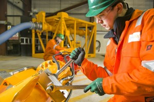 A Proserv technician working on the firm's suite of decommissioning tooling.