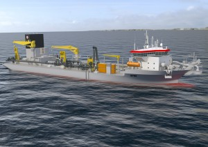 Rendering of the 18,000m3 TSHD ordered by Jan de Nul Group.