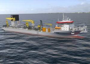 Rendering of the 18,000m3 TSHD ordered by Jan de Nul Group.