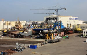 Albwardy Damen shipyard in Sharjah, UAE.