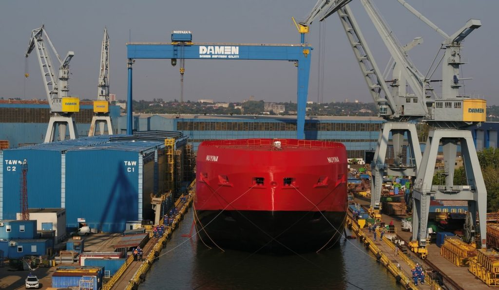 Damen has carried out the successful floating of the Antarctic Supply Research Vessel (ASRV) RSV Nuyina currently under construction at Damen Shipyards Galati.
