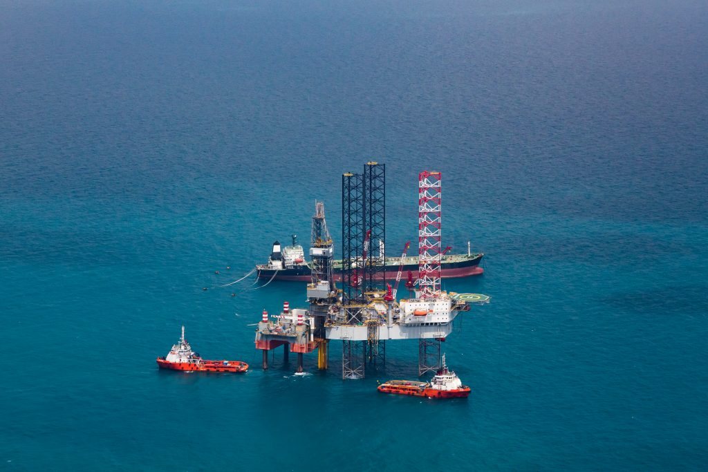 Offshore oil rig drilling gas platform in the gulf of Thailand